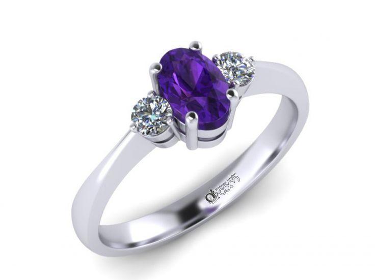 Inel de logodna ATCOM Lux cu ametist diamante HECTOR aur alb