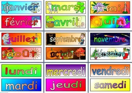 MFl Free French Resource - Days of the Week and Months of the Year Display Posters