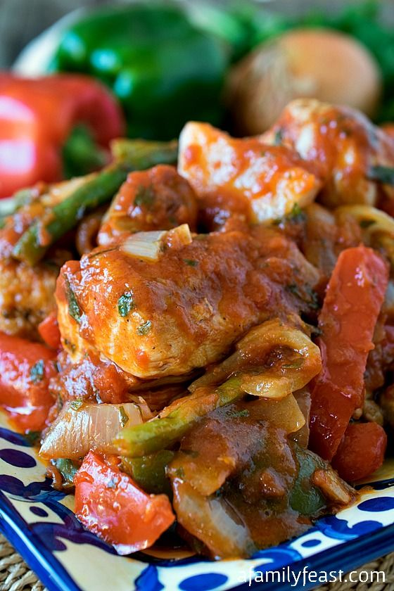 Chicken Cacciatore - A classic family recipe with tender chicken, peppers and homemade sauce.