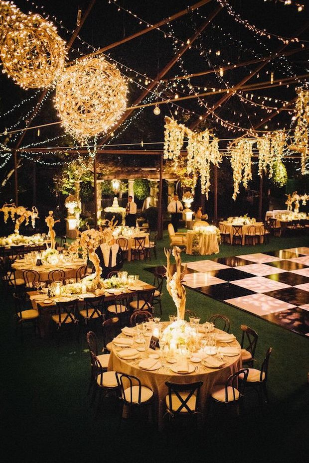 romantic string lights for evening wedding reception ideas