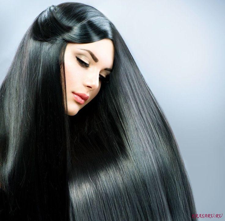 Фото прямые черные волосы