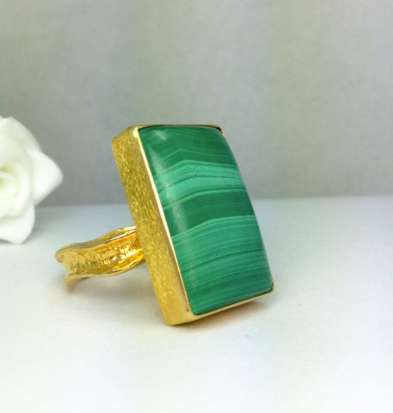 Malachite Ring, Handmade Jewelry, Natural Gemstone, Gold Plated 24k, Sterling Silver Ring, Handcrafted Fine Silver Bezel.