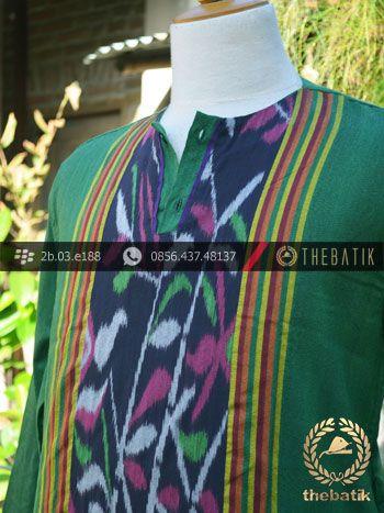 Baju Koko Tenun Ikat Warna Hijau | Green Ikat http://thebatik.co.id/kain-batik-bahan/