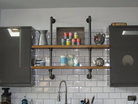 Reclaimed Rustic Vintage Industrial Wall Mounted Old Gas Pipe Shelf Unit Bookcase