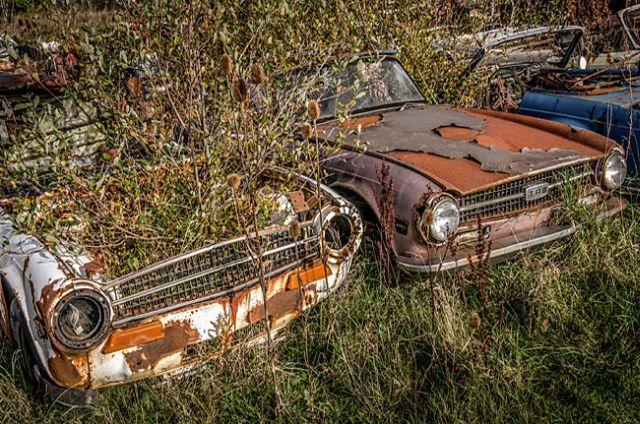 Makes us sad... The Abandoned Triumph Car Graveyard at Appleton, Cheshire