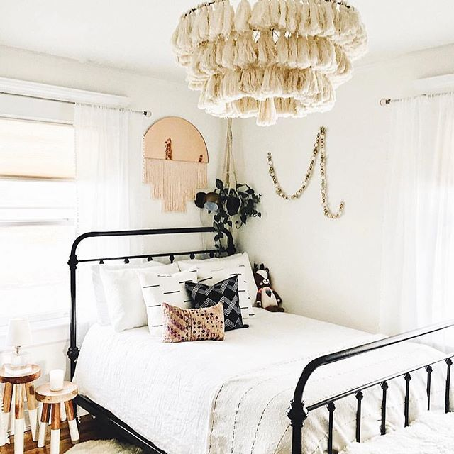 Bedroom Inspiration With Macrame Lamp Macrame Wall Hanging Metal Bed Frame White Bedding Mid Century M Bedroom Inspirations Metal Bed Frame White Bed Frame
