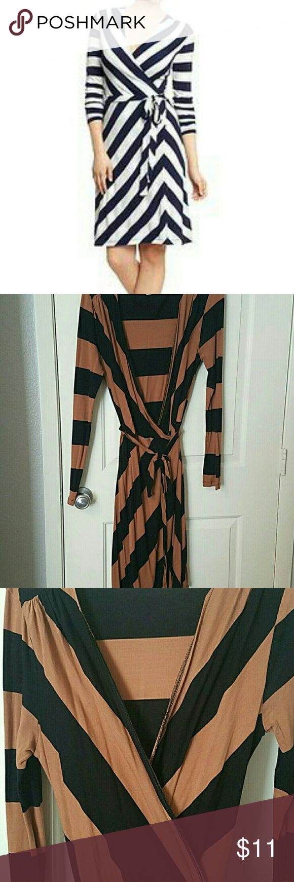 Old Navy Camel and Black Striped Wrap Dress First picture to show fit, actual colors are camel and brown. EUC, no defects. Long sleeve, wraps with tie around waist, knee-length. Flattering! Measurements upon request. Open to reasonable offers. Thanks for looking! Old Navy Dresses