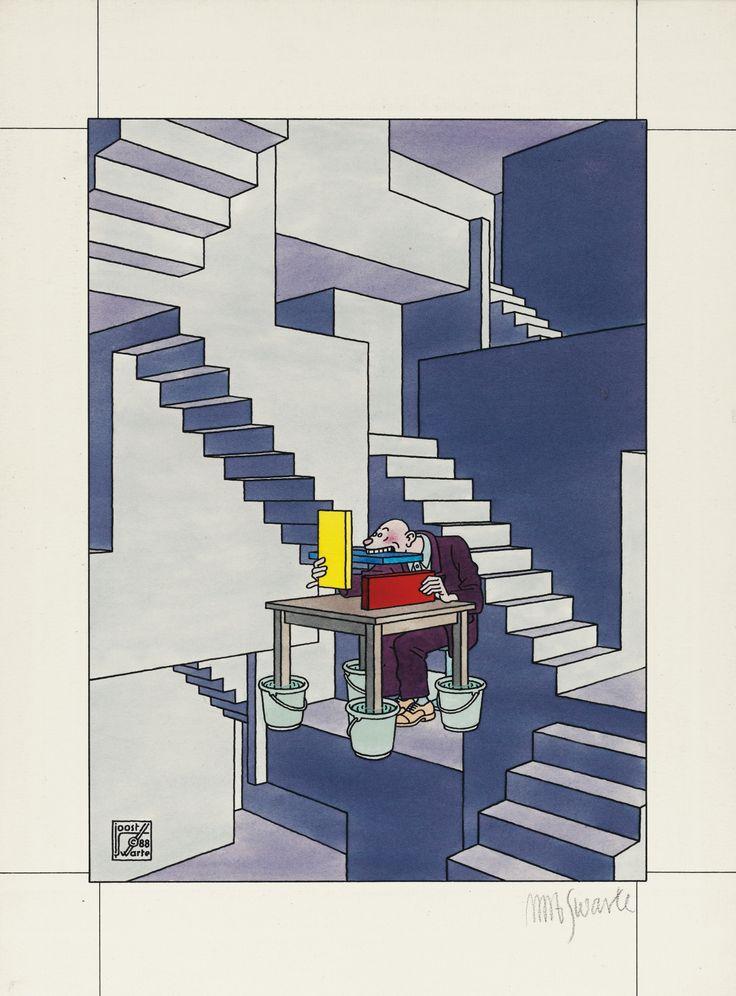 L'Architecte Néerlandais par Joost Swarte. Couverture pour le Magazine L'Architecture d'Aujourd'hui, version Pays-Bas, No.257, 1988.