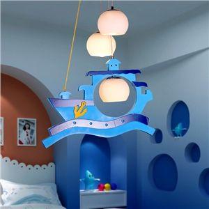 LED Pendelleuchte Kinderzimmer Kaperschiff Design Holz 3-flammig