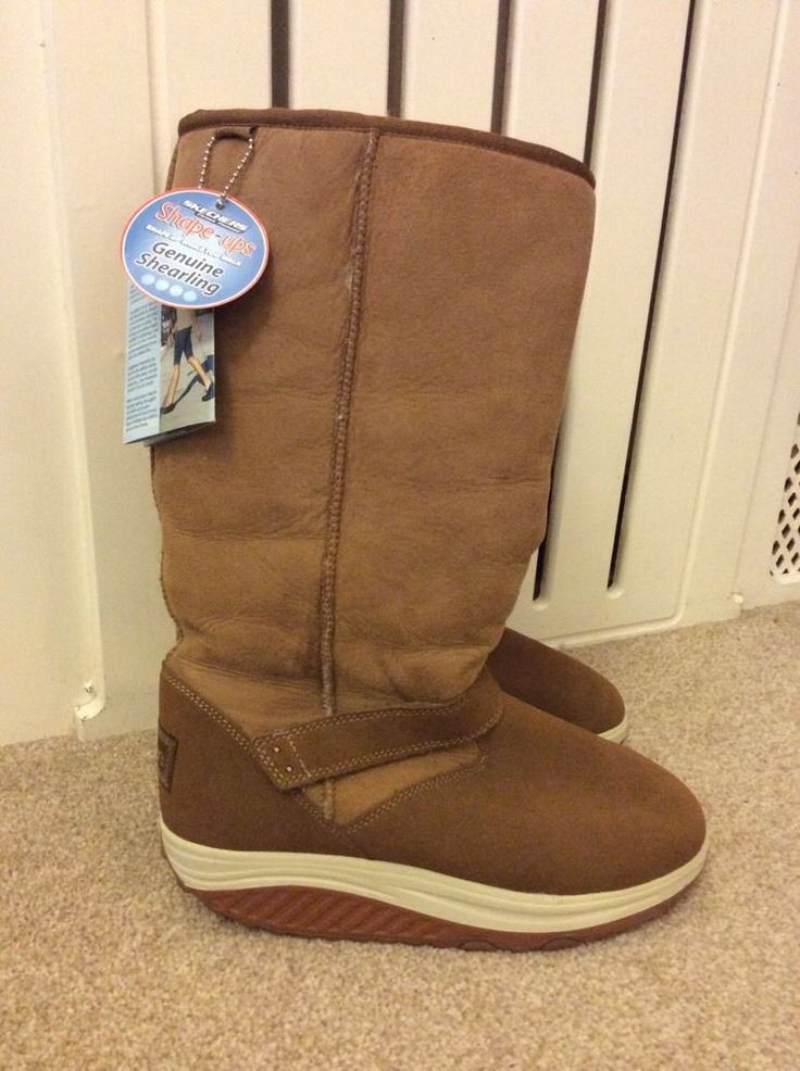 SKECHERS SHAPE-UPS Genuine SHEARLING Ladies Designer BOOTS UK7 EU40 USA10 BNWOB | eBay