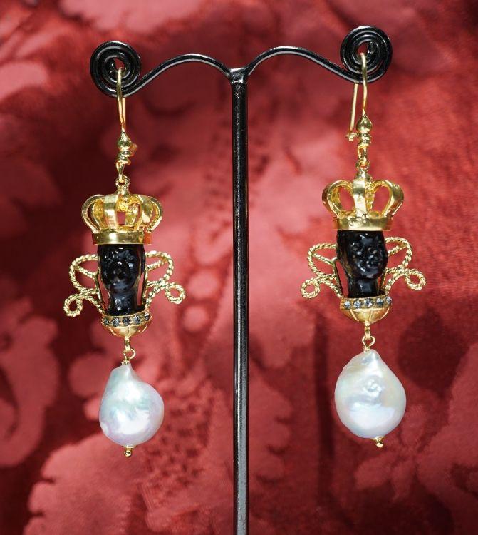 Economic blackamoors 2017 silver gold plating baroque pearls, enamel heads. euros 195,00 www.gioiellivenezia.com