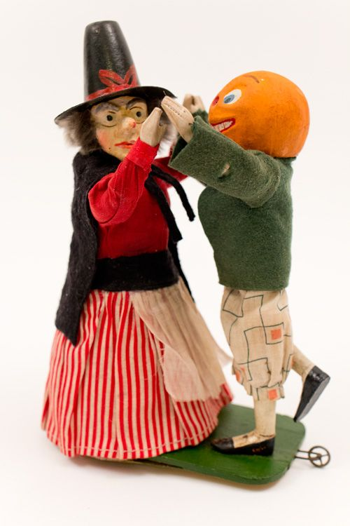 antique halloween dancing witch and pumpkin windup german paper mache toy z k american antiques antique american folk art and fine rare antiques - Antique Halloween Decorations