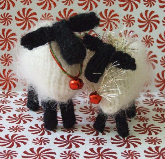 Knitted Christmas Decorations To Buy : Knitted sheep shabby chic buy patterns get free