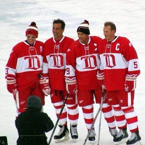 Former Red Wings Kris Draper, Chris Chelios, Steve  Yzerman and Nick Lidstrom pose for photos at the second Alumni Showdown game 12/31/13 at Comerica Park in Detroit.