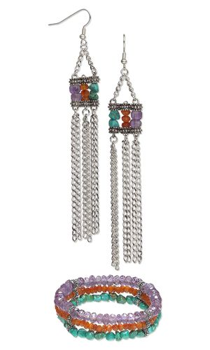 Triple-Strand Bracelet and Earring Set with Turquoise, Carnelian and Amethyst Gemstone Beads, Antiqued Pewter Spacer Bars and Silver-Plated Steel Chain - Fire Mountain Gems and Beads