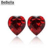 BeBella 6 цвета классические хрустальные сердца серьги сделаны с Элементами swarovski(China (Mainland))