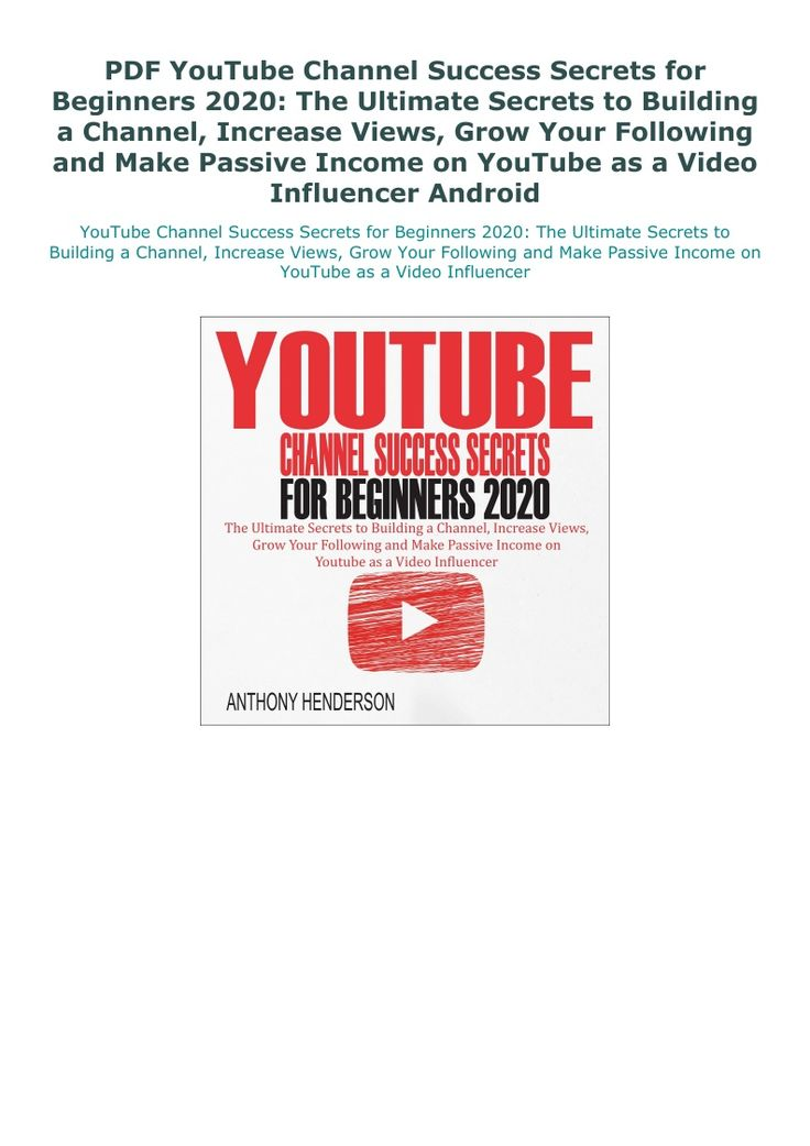 PDF YouTube Channel Success Secrets for Beginners 2020