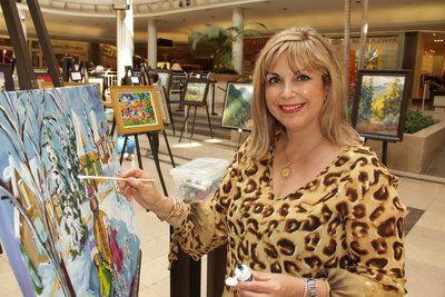 Katerina Mertikas painting live at Artworld of Sherway show 2012.