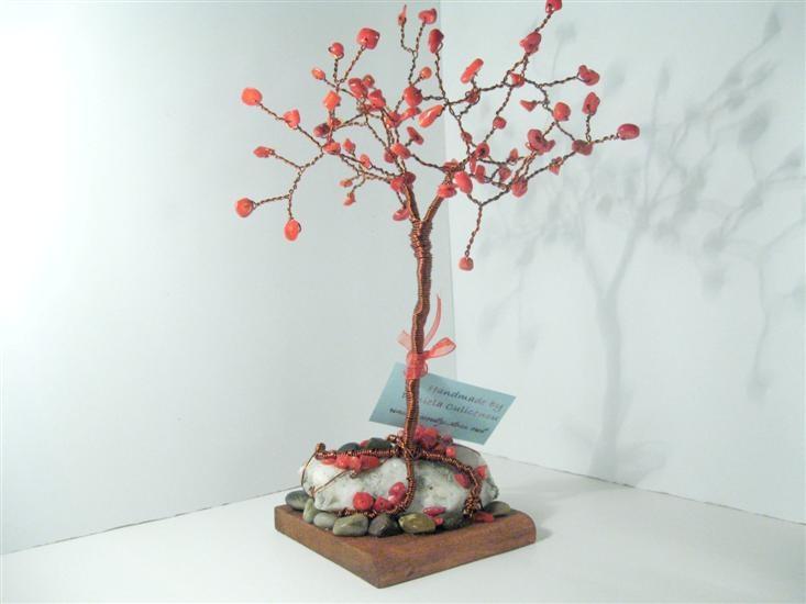 Red Coral 30 cm Copper Tree