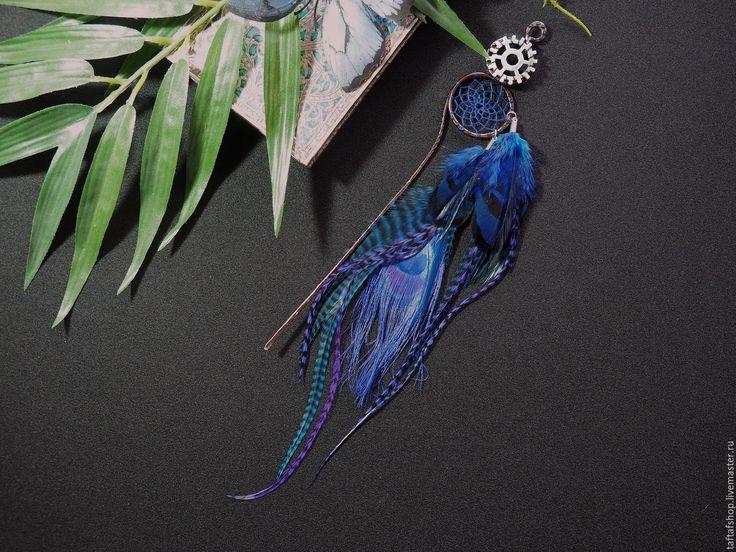 Шпилька для волос, с перьями - Тёмная ночь, синий, стимпанк - перо, перья, перья в волосы