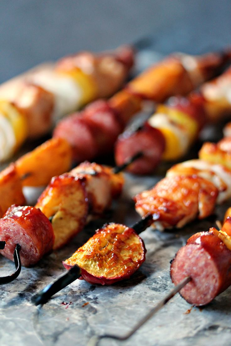 Chicken, Peach and Sausage Kebabs- Great kebab recipe you make on the grill. #sponsored #RicardoCuisine