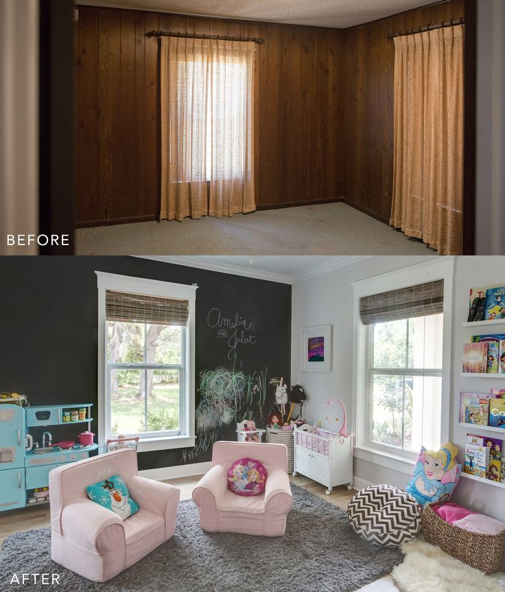 Love a great before/after! playroom design, playroom ideas, playroom, ikea shelves, floating shelves, shag rug, chalkboard wall, craftsman window trim, book ledge, kid kraft play kitchen, retro play kitchen, pottery barn kids chairs, kids room, interior design, before and after, vero beach interior designer
