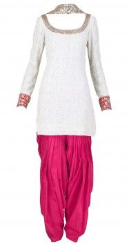 Ivory Pink Salwar Kameez by Manish Malhotra