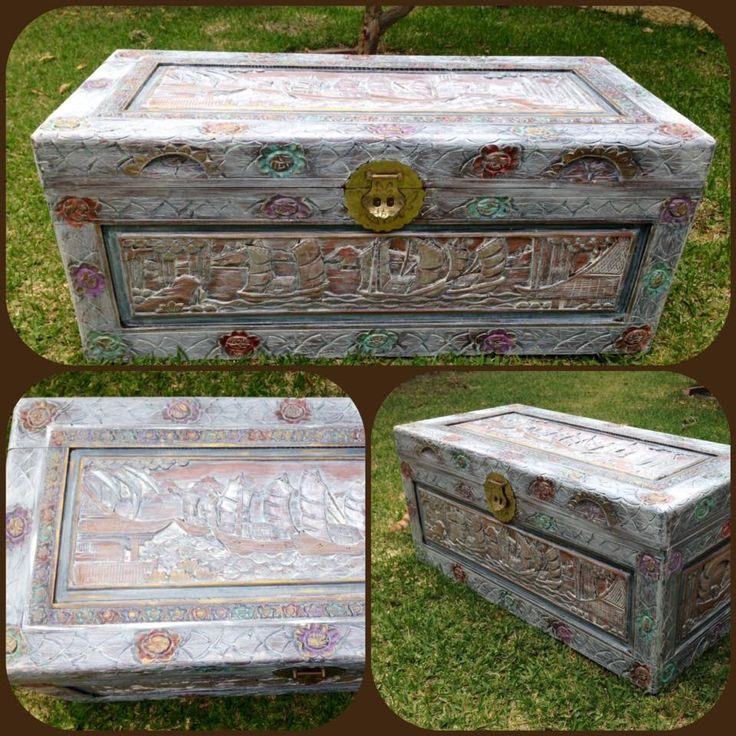 camphor chest white washed and embellished with pearl and copper accents.. The Glory Collection Painted Furniture. https://www.facebook.com/pg/Theglorycollectionpaintedfurniture/photos/?tab=album&album_id=862470853813492#