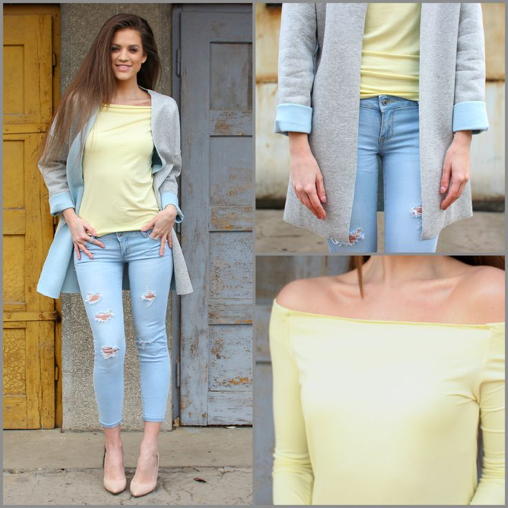 Chic ripped #jeans and casual #blazer outfit available at www.famevogue.ro...:)  #shopping #moda #style #fashion #famevogue