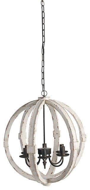 "Wood-Metal Globe Chandelier, 22.5"" farmhouse-chandeliers"