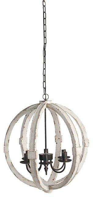 """Wood-Metal Globe Chandelier, 22.5"""" farmhouse-chandeliers"""
