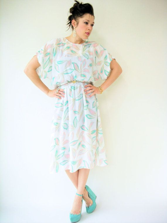 80's Vintage White Chiffon Leaf Print Kimono by viralthreads