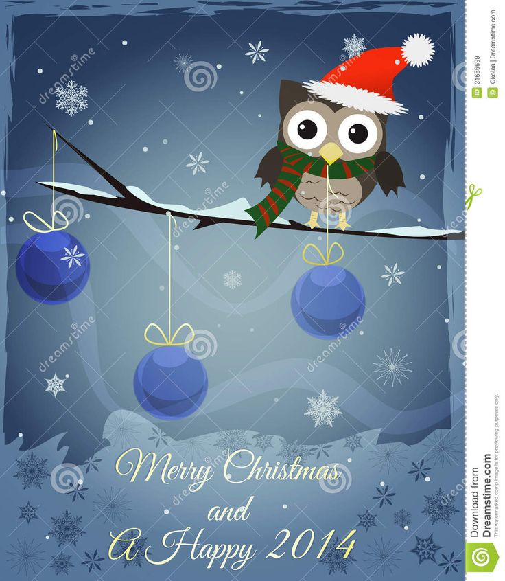 Owl Marry Christmas And Happy New 2014 Royalty Free Stock Images