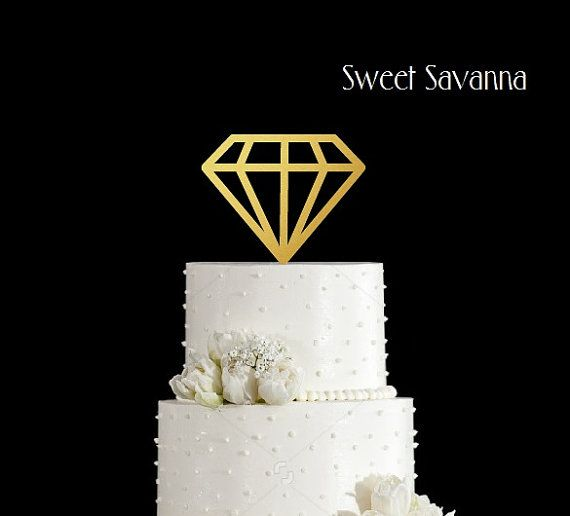 Diamond Cake Toppers  Engagement Cake by SweetSavannaCookies