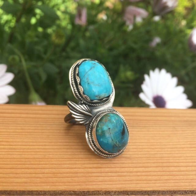 A personal favourite from my Etsy shop https://www.etsy.com/au/listing/553499887/double-kingman-turquoise-statement-ring