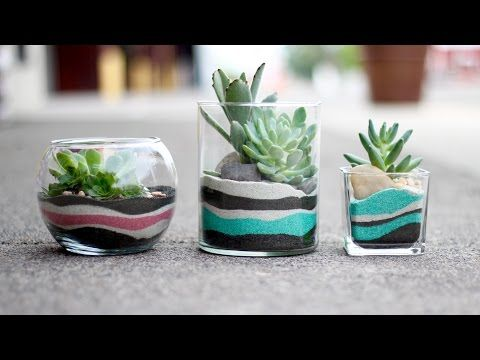 DIY Layered Sand Succulent Planter (Full Version) - YouTube