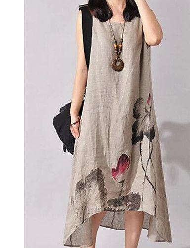 723cad732bc8 Women s Floral Plus Size Weekend Chinoiserie Asymmetrical Dress - Floral  Print Summer Cotton White Gray Wine XXL XXXL 4XL   Loose