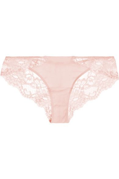 La Perla - Souple Leavers Lace And Stretch-cotton Jersey Briefs - Pastel pink - 2