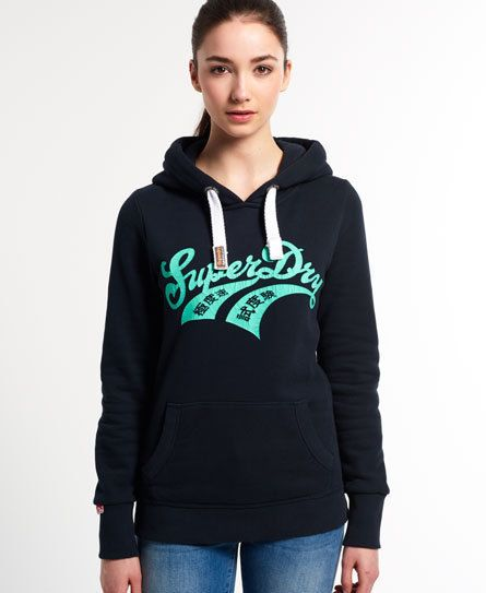 New Womens Superdry Double Warriors Hoodie Eclipse Navy