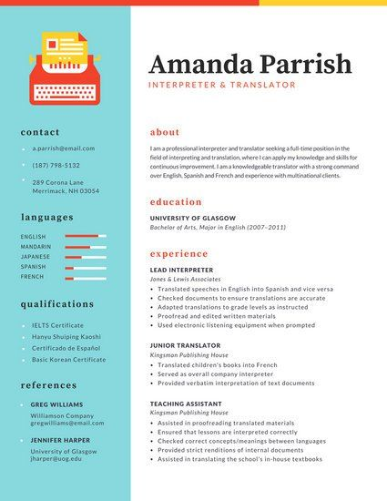 70 best Resume images on Pinterest Infographic resume, Resume - interpreter resume samples
