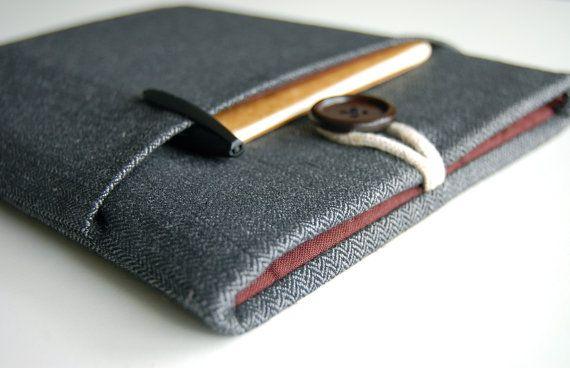 iPad Case, Galaxy Tab 3 10.1 Sleeve, Galaxy Tab 3 8.0 Case Custom Fit Padded With Pocket - Herringbone