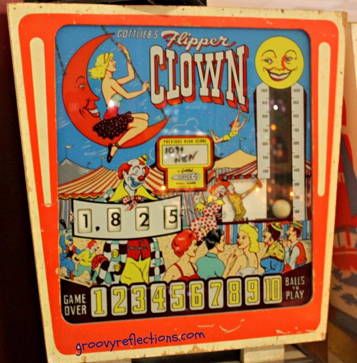 Gottlieb Flipper Clown backglass 1962. Pinball Hall of