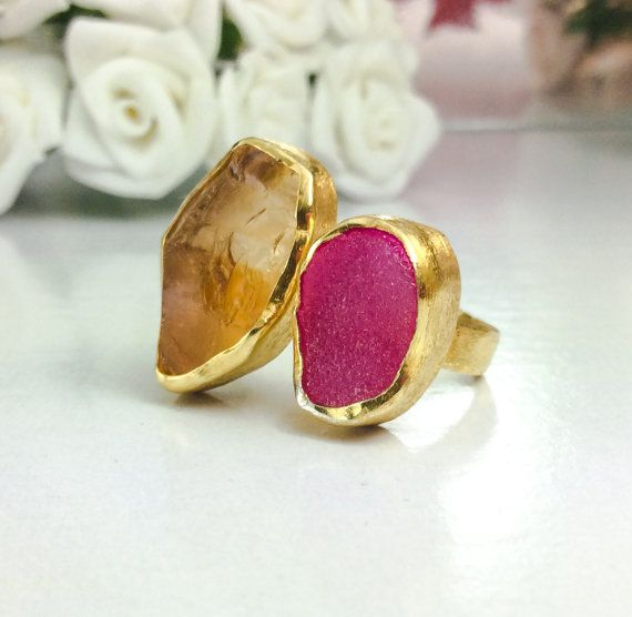 Handmade split ring rough citrine pink druzy by KastoniJewels