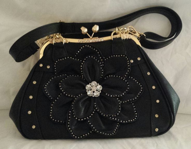 """""""AGTS"""" Logo  Diamante Studded Flower Accent with Crystal Rose Clasp and Diamante Feature on Frame Shoulder/Handbag  $150.00"""