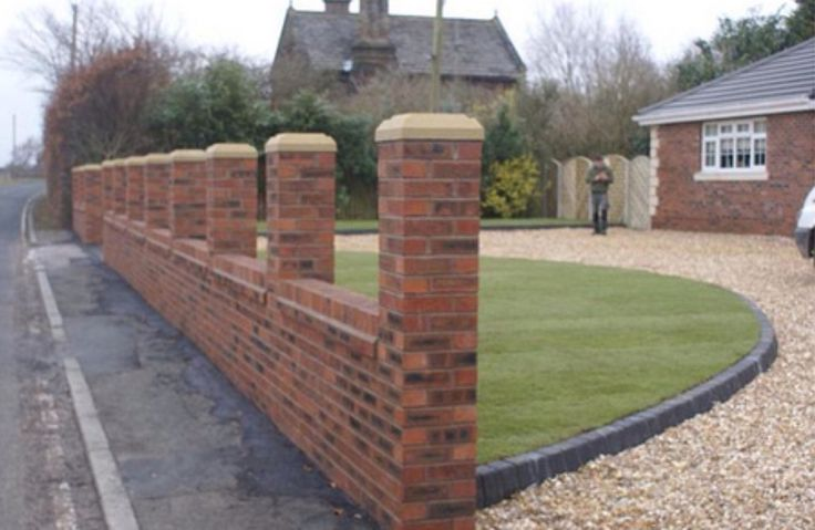 Large front garden wall pillars completed in kirby for Front garden brick wall ideas