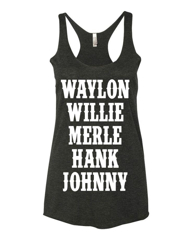 LEGENDS Waylon, Willie, Merle, Hank & Johnny - Ladies, Tri Blend Racerback Tank Top by TailgateNTees