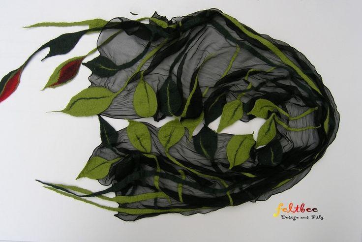 Nunofilzschal Blätter, Filzschal von feltbee - Design aus Filz auf DaWanda.com
