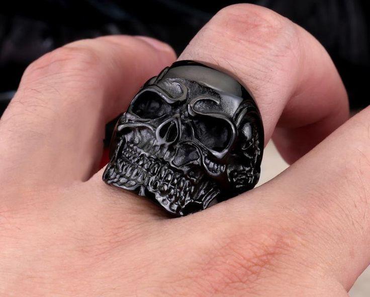 STAINLESS STEEL Rings For Man Big Tripple Skull Ring - mebyme - 8