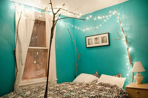 pretty color, pretty lights: Wall Colors, Idea, White Lights, Fairies Lights, Christmas Lights, String Lights, Trees Branches, Beds Frames, Canopies Beds