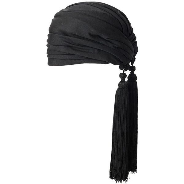 Dior Turban With Tassels ❤ liked on Polyvore featuring accessories, hats, pirate, flapper, long hat, turban hat, pirate hat, tassel hat and gatsby hat